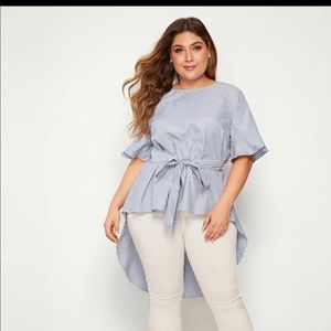 SHEIN Plus Striped High Low Hem Belted Blouse